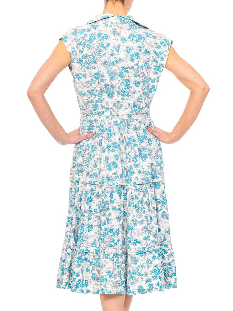 1950S Blue & White Floral Cotton Button Down Day Dress With Belt For Sale 5