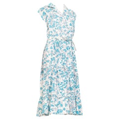 1950S Blue & White Floral Cotton Button Down Day Dress With Belt