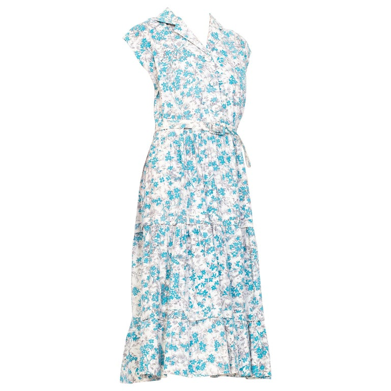 1950S Blue & White Floral Cotton Button Down Day Dress With Belt For Sale