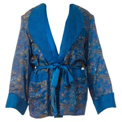 1940S Blue & Gold Silk Brocade Mens Smoking Jacket With Belt