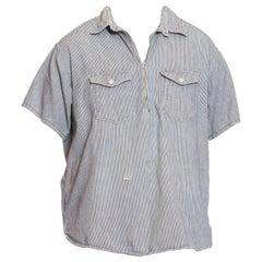 1940S Blue & White Cotton Railroad Stripe Zip Front Pullover Shirt