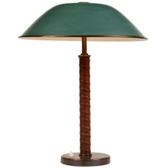 1940s Böhlmarks Brass and Leather Table Lamp