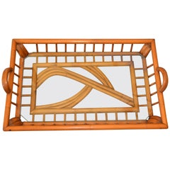 1940s Boho Chic Handcrafted Bamboo Wood & Glass Table Tray, Serving Tray,Platter