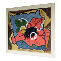 1940s Brilliant American Abstract Primitive Flower Painting