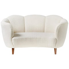 1940s Boucle Wool Danish Loveseat