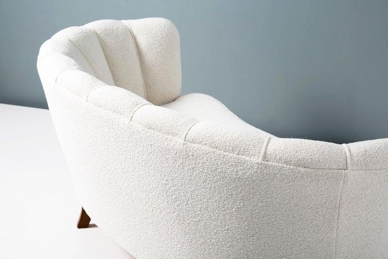 Scandinavian Modern 1940s Boucle Wool Danish Loveseat Sofa For Sale