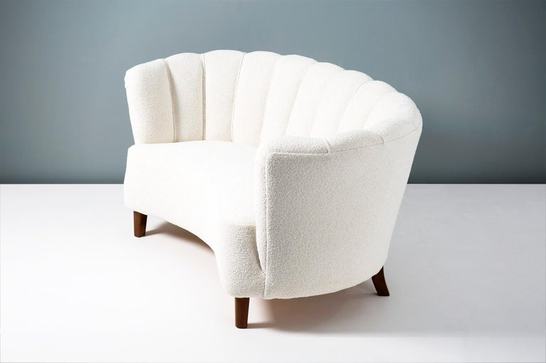 Mid-20th Century 1940s Boucle Wool Danish Loveseat Sofa For Sale