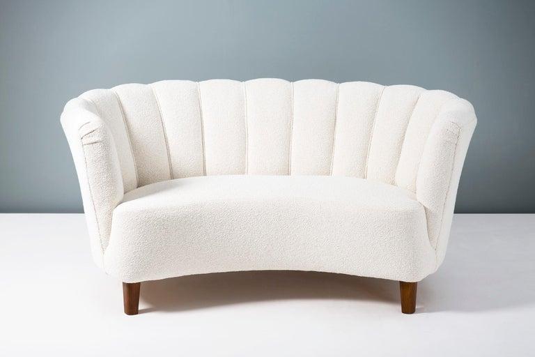 Bouclé 1940s Boucle Wool Danish Loveseat Sofa For Sale