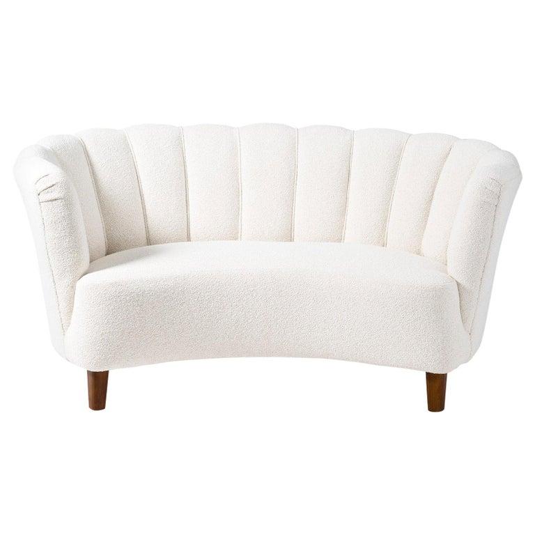 1940s Boucle Wool Danish Loveseat Sofa For Sale