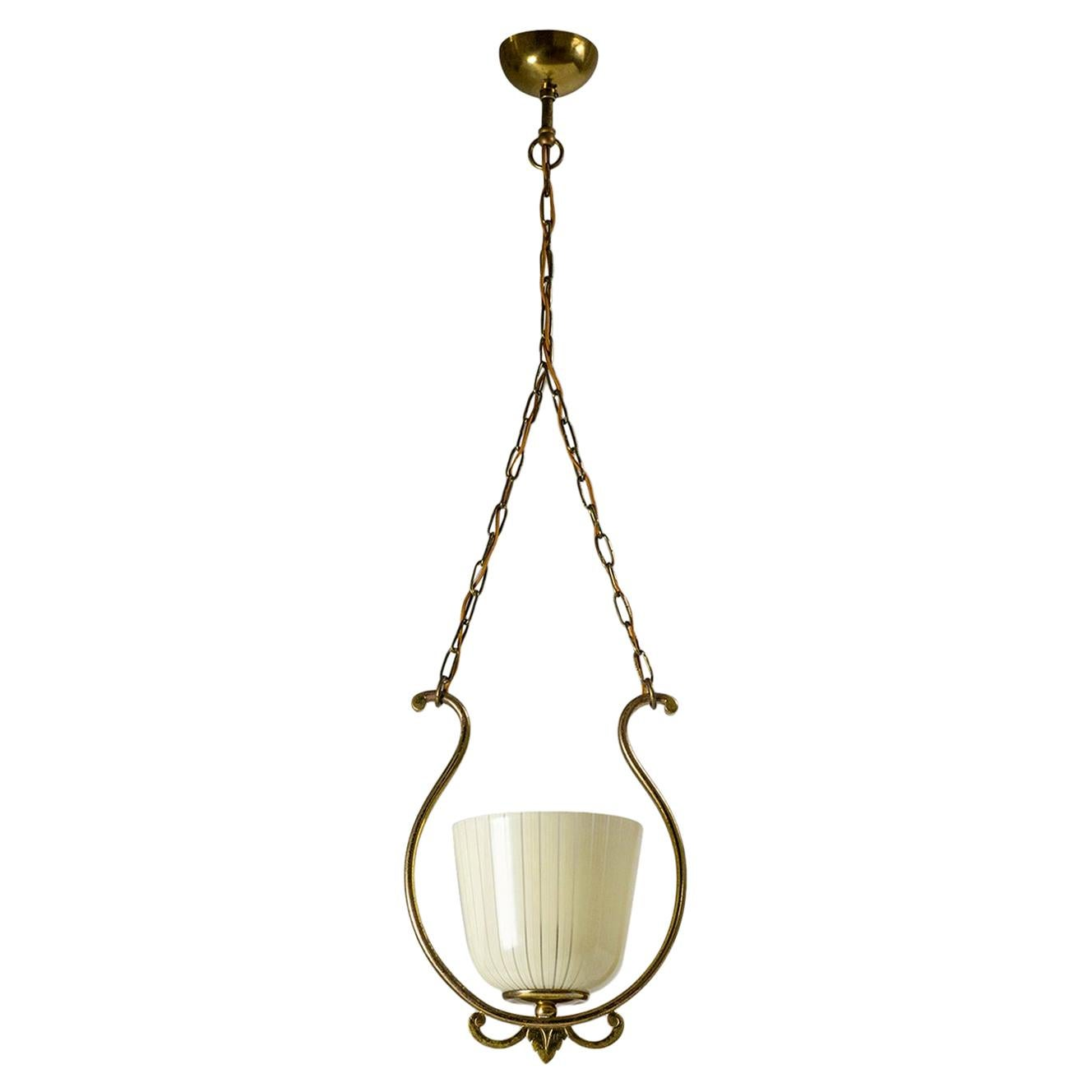 1940s Brass and Enameled Glass Lantern
