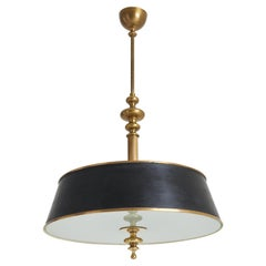 1940s Brass and Glass Ceiling Light