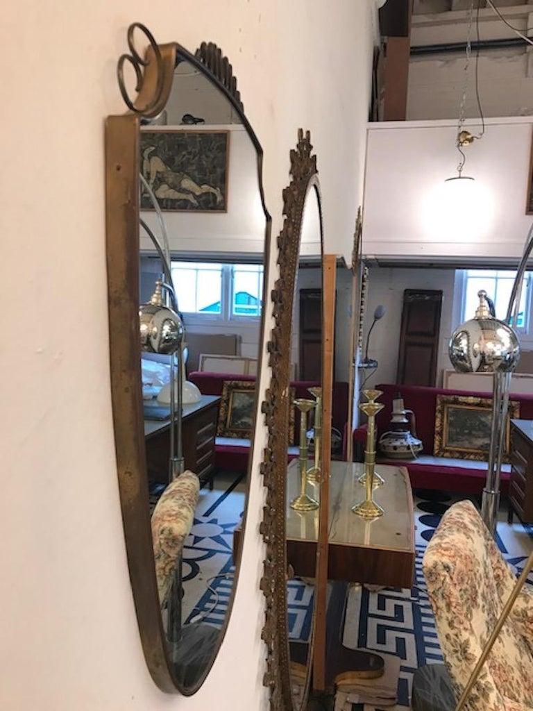 Italian 1940s Brass Frame Mirror For Sale