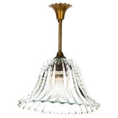 1940's Brass & Glass Pendant Attributed to Venini