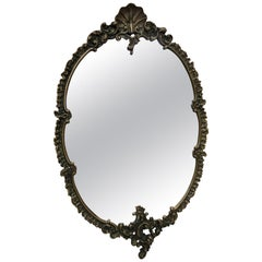 1940s Brass Mirror Italian Oval Elegant Original