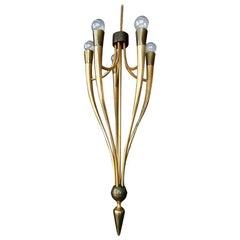 1940s Brass Pendant Chandelier by Guglielmo Ulrich