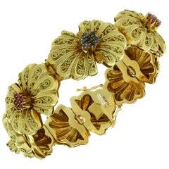 1940s Brevetto Italian Sapphire Ruby Yellow Gold Bracelet