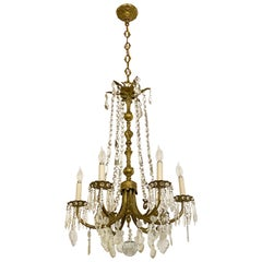 Bronze French Crystal Chandelier with 6 Candle Lights with Chain and Canopy