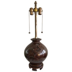 1940s Bronze Table Lamp with Bird on Asian Style Wood Base