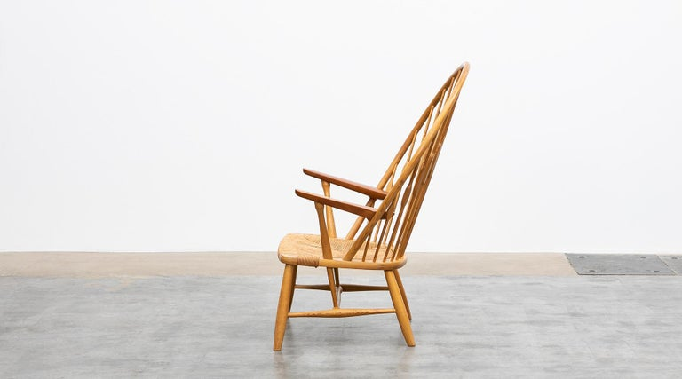 Mid-Century Modern 1940s Brown Ash and Papercord Peacock Chair by Hans Wegner For Sale