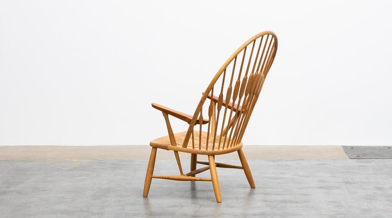 Danish 1940s Brown Ash and Papercord Peacock Chair by Hans Wegner For Sale