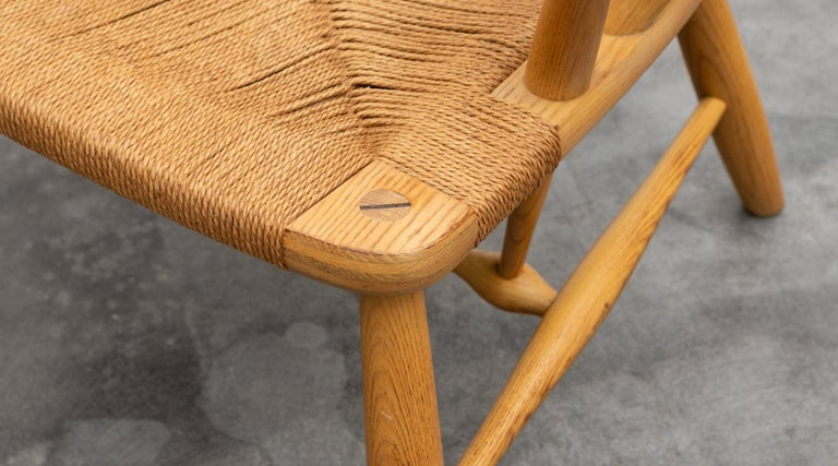 Mid-20th Century 1940s Brown Ash and Papercord Peacock Chair by Hans Wegner For Sale