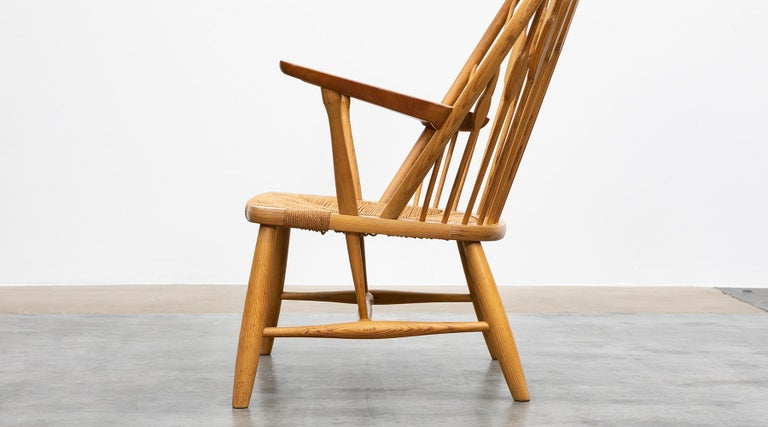 1940s Brown Ash and Papercord Peacock Chair by Hans Wegner For Sale 1
