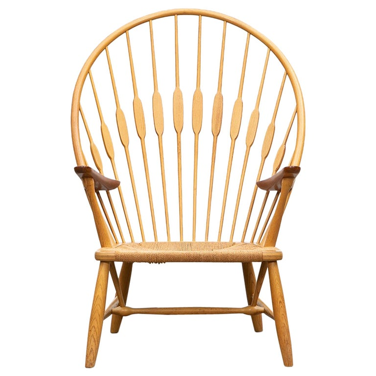 1940s Brown Ash and Papercord Peacock Chair by Hans Wegner For Sale