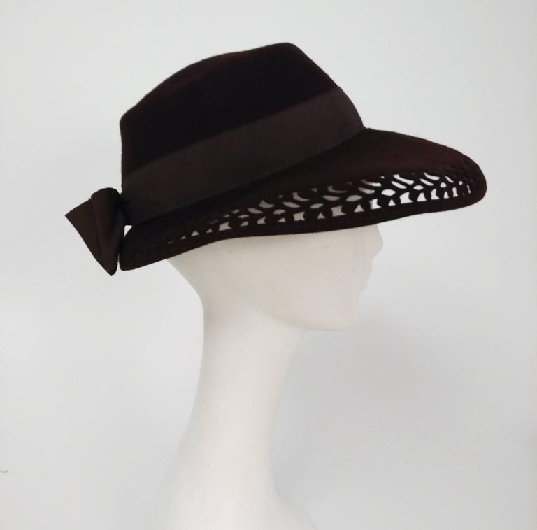 Gray 1940s Brown Felt Wide Brimmed Hat w/ Cutouts For Sale