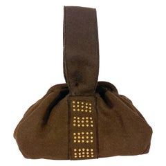 1940s Brown Fur Felt Handbag With Brass Stud Decoration