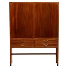 1940s Brown Mahogany on Brass Feet Highboard by Ole Wanscher 'B'
