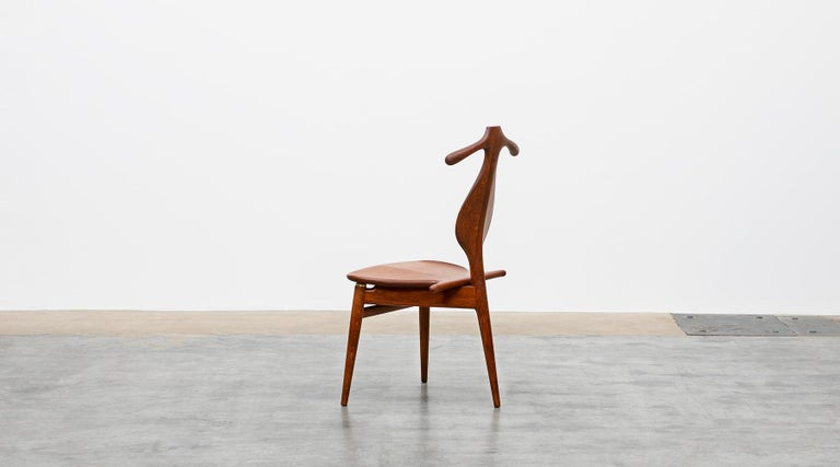 Danish 1940s Brown Oak and Teak Valet Chair by Hans Wegner 'b' For Sale