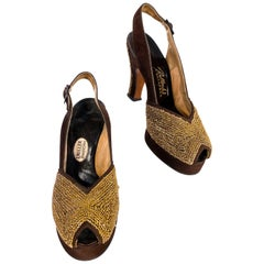 1940s Brown Suede Platform Heels with Gold Lurex Braiding