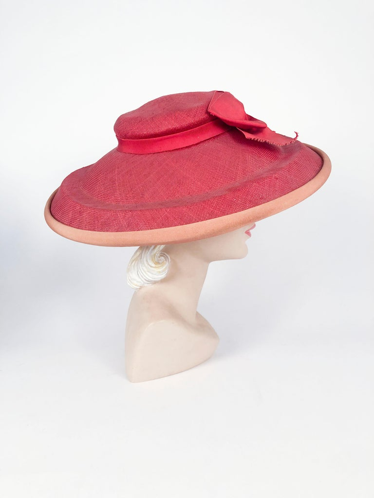 1940s Bullocks Coral Picture Hat In Good Condition For Sale In San Francisco, CA