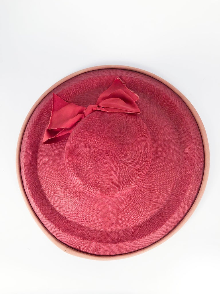 1940s Bullocks Coral Picture Hat For Sale 1