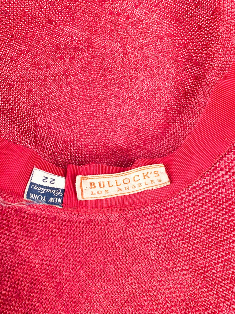 1940s Bullocks Coral Picture Hat For Sale 3