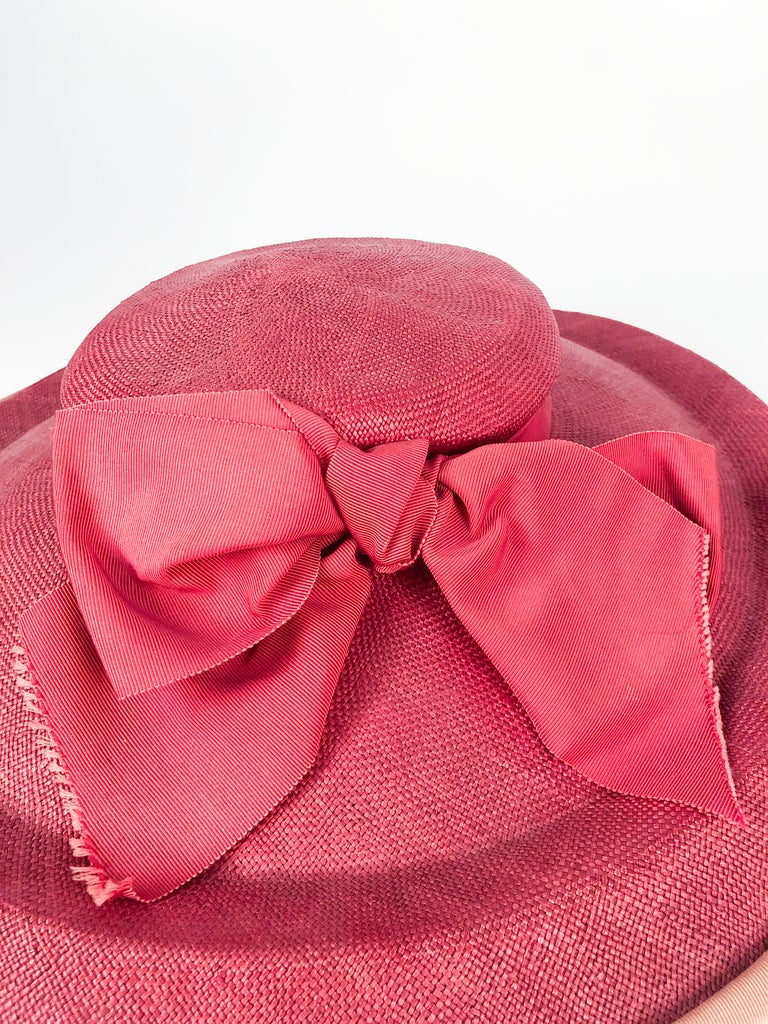 1940s Bullocks Coral Picture Hat For Sale 4