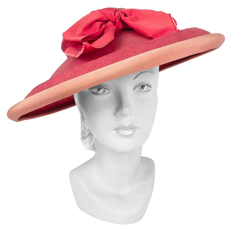 1940s Bullocks Coral Picture Hat For Sale