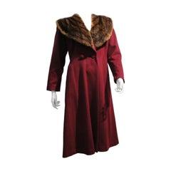 1940s Burgundy Wool Coat w/ Mink Shawl Collar