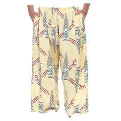 1940S Butter Yellow Brown & Teal Rayon Pajama Lounge Pants