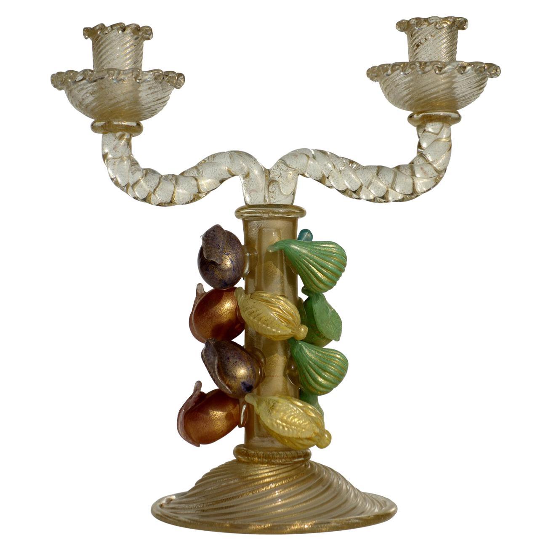 1940s by Ercole Barovier Murano Italian Art Glass Fruit Sculpture Candleholder