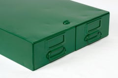 1940s Card Catalog File Drawers, Refinished in Forest Green