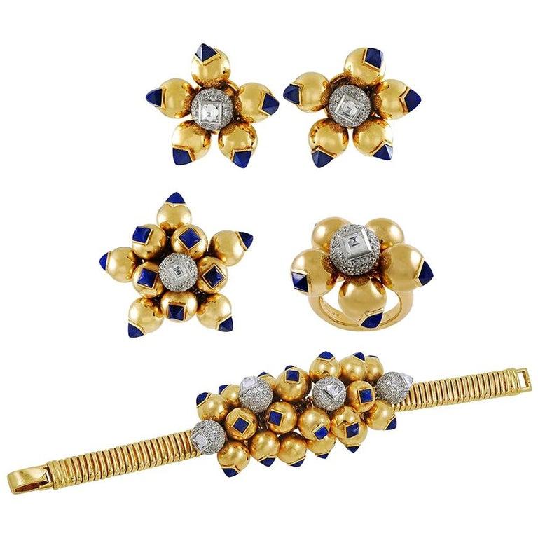 1940s Cartier Diamond and Lapis Lazuli Bracelet Suite For Sale