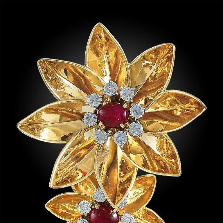 Women's or Men's 1940s Cartier Diamond, Ruby Flower Brooch For Sale
