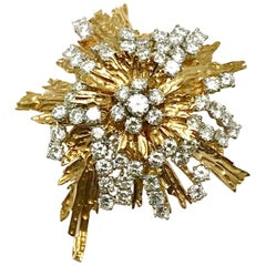 1960s Cartier Paris 5.00 Carat Round Diamond Yellow Gold Spray Brooch