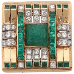 1940s Carved Emerald with Square Cut Emeralds and Diamonds Geometric Clip Brooch