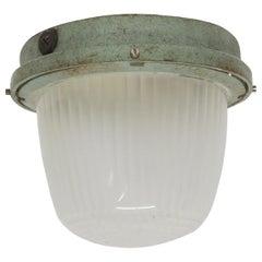 1940s Cast Milk Glass Semi Flush Mount Light