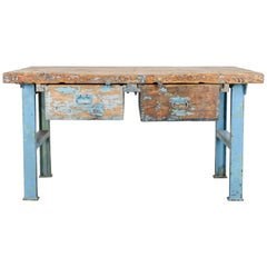 1940s Central European Metal and Wood Worktable