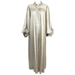 1940s Champagne Silk Hand Embroidered Bishop Sleeve Robe