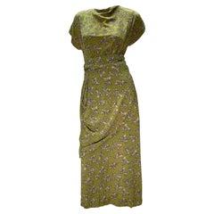 1940s Chartreuse Rayon Crepe Print Swing Dress w/ Draped Hip & Cummerbund Waist