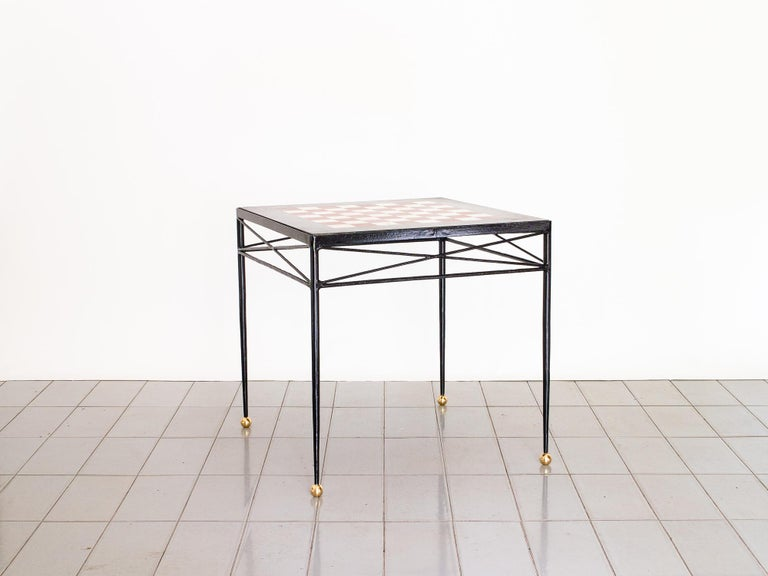 French 1940s Chess Table in Wrought Iron and Marble, France Moderne For Sale